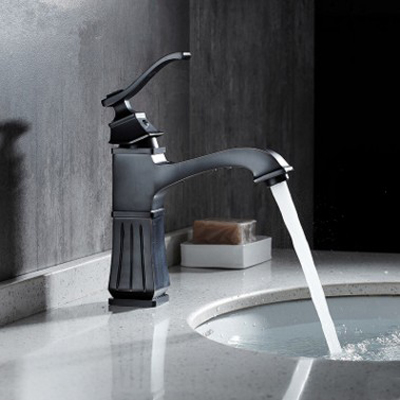 European Antique Kitchen Faucets Brass Black Bathroom Faucet Square Single Handle Single Hole Sink Taps Hot Cold Deck Mounted electroplate kitchen faucets brass polished silver bathroom faucet double handle single hole mixer taps hot cold deck mounted