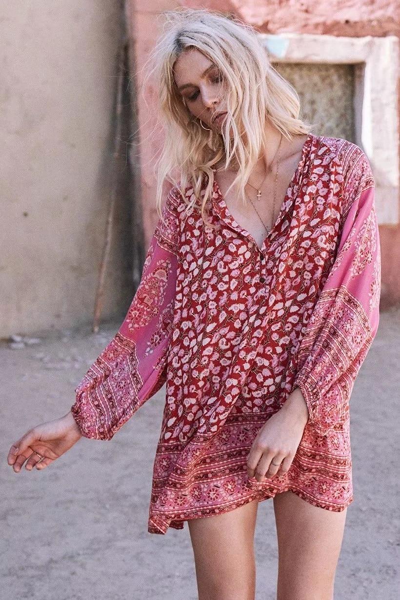 377d26def5b0 BOHOFREE DELIRIUM SMOCK MINI DRESS V Neck Loose Long Sleeve Cotton Vestidos  Boho Dress Bohemian Vestidos Femme Beach Dress -in Dresses from Women's  Clothing ...