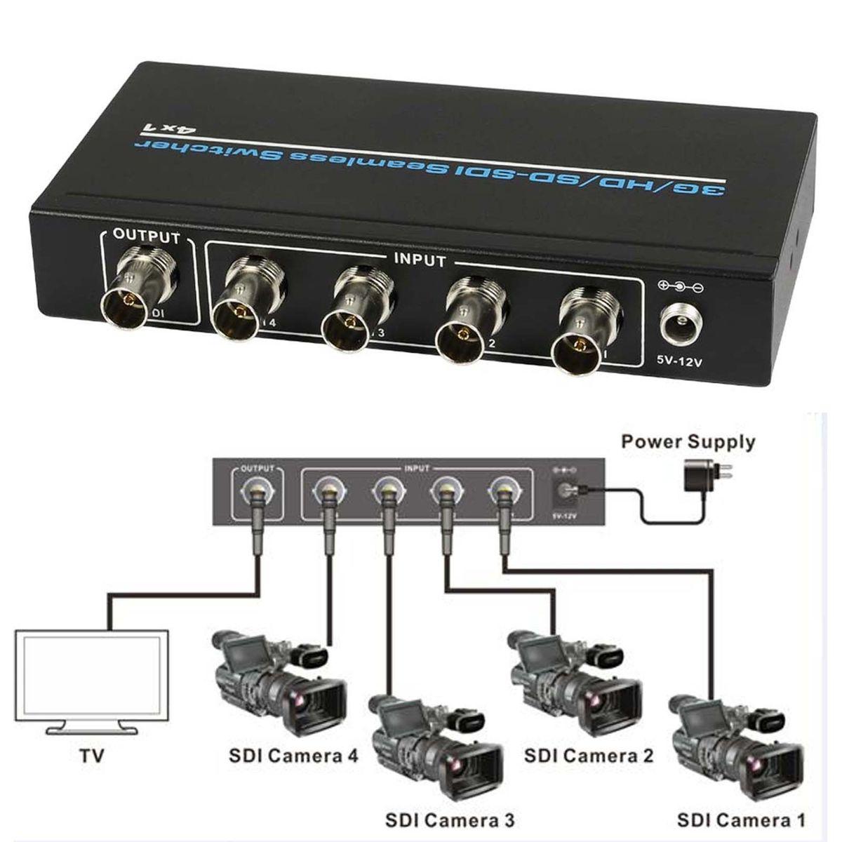 4 Port BNC SDI/HD-SDI/3G-SDI Seamless Switcher Scaling 4x1 Switch 1080P + IR Remote Control Lossless over long distances 100m4 Port BNC SDI/HD-SDI/3G-SDI Seamless Switcher Scaling 4x1 Switch 1080P + IR Remote Control Lossless over long distances 100m