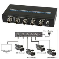 4 Port BNC SDI/HD SDI/3G SDI Seamless Switcher Scaling 4x1 Switch 1080P + IR Remote Control Lossless over long distances 100m