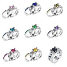 Fashion Silver Plated Olive Green Crystal Inlay Zircon ring size 6.7.8.9.10 Rings For Women Wedding