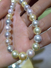 6.5-8.5MM Japan Akoya Pearls Necklace Sea Water Pearl Necklace Perfect Round Top Quality Free Shipping Multicolor Classic Women