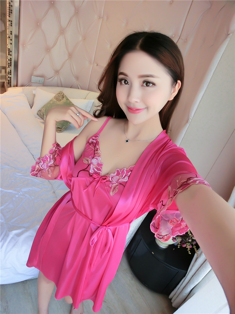 2019 Women Black Embroidered Chemises Sleepwear Sexy Lace Nightdress ... 7317e980e