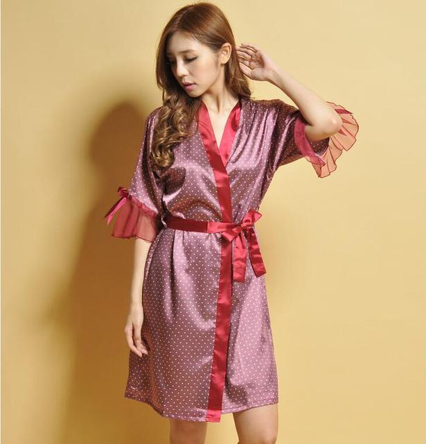 Novo! Moda Verão das Mulheres dormem Vestes Pura Rendas decorar Robes roupão de banho Camisola Início Mobiliário Transparente tamanho Médio 7759