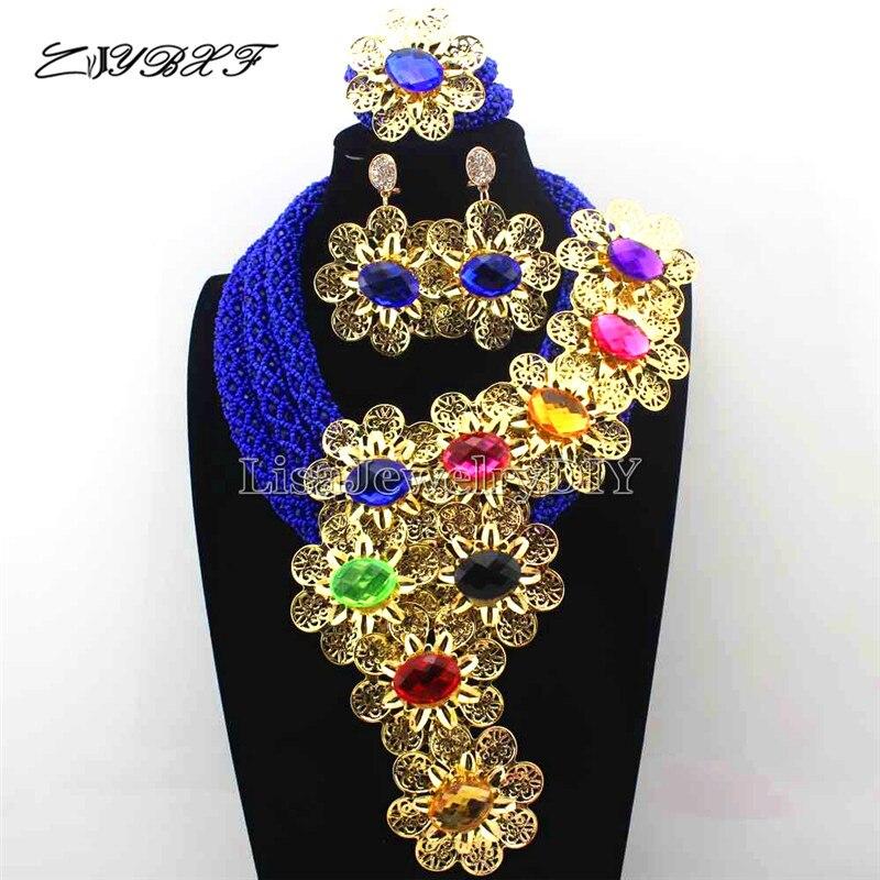 Великолепный Королевский синий Кристалл себе Цепочки и ожерелья Набор Свадьба Африканский цветок комплект ювелирных изделий для Для женщи