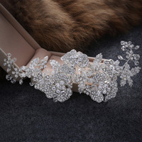 The New Korean Bride Crown Headdress Handmade Hair Accessories Hair Ring Wedding Jewelry Alloy Hairpin Hair