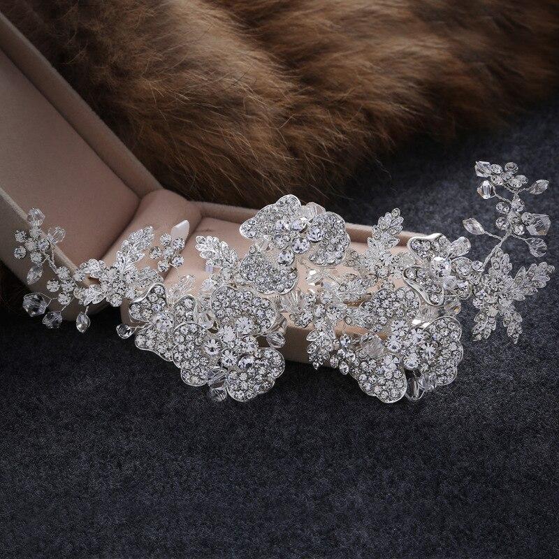 The New Korean Bride Crown Headdress Handmade Hair Accessories Hair Ring Wedding Jewelry Alloy Hairpin Hair