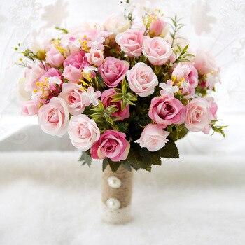 Ayicuthia Braut Blume 2018 Rosa Weiss Hochzeit Bouquet Handgemachte