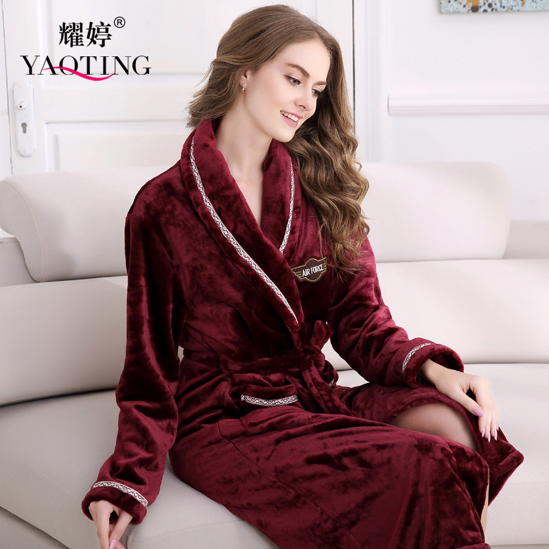 Ladies Long Bathrobe For Women Flannel Bath Robe Winter Solid Robe Mens Robe Sleepwear Winter Flannel Robe Free Shipping
