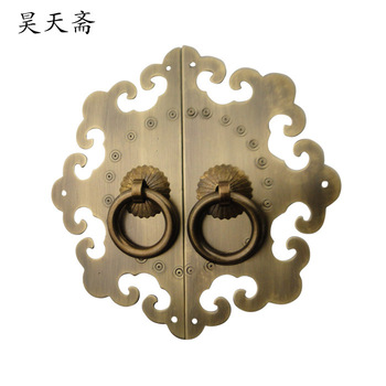 [Haotian vegetarian] Ming and Qing antique Chinese furniture, copper fittings copper door handle clouds HTB-251