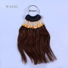 30 шт./компл. человеческих волос девственницы коричневый цвет кольцо для человеческих волос и салон, окрашивание волос образец, может быть любого цвета красителя
