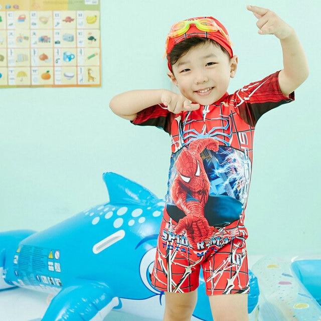 8ce9f2404e Excellent Quality Children Boy One Piece Swimming Suit Cool Spider-Man  Print Surf Clothes Child