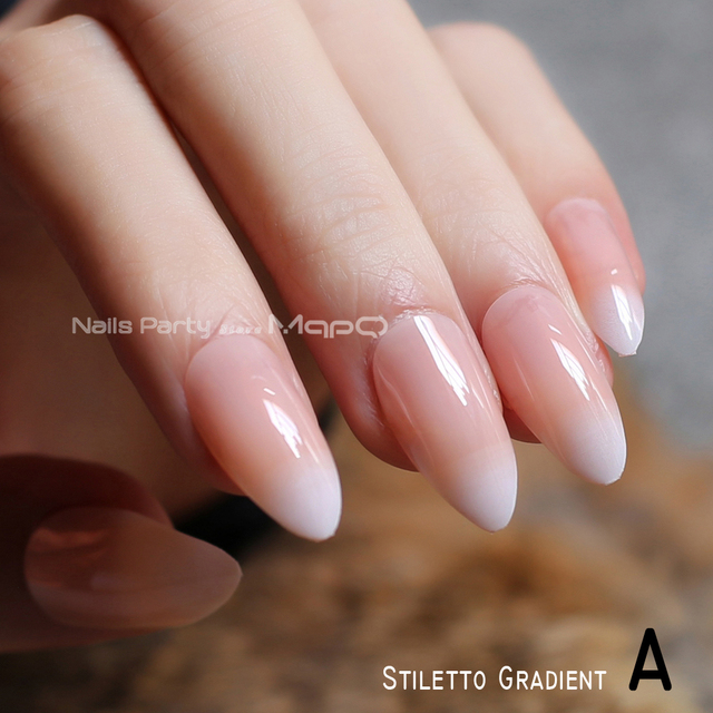 French Gradient Stiletto Natural Nails Coffin Nude Medium Short