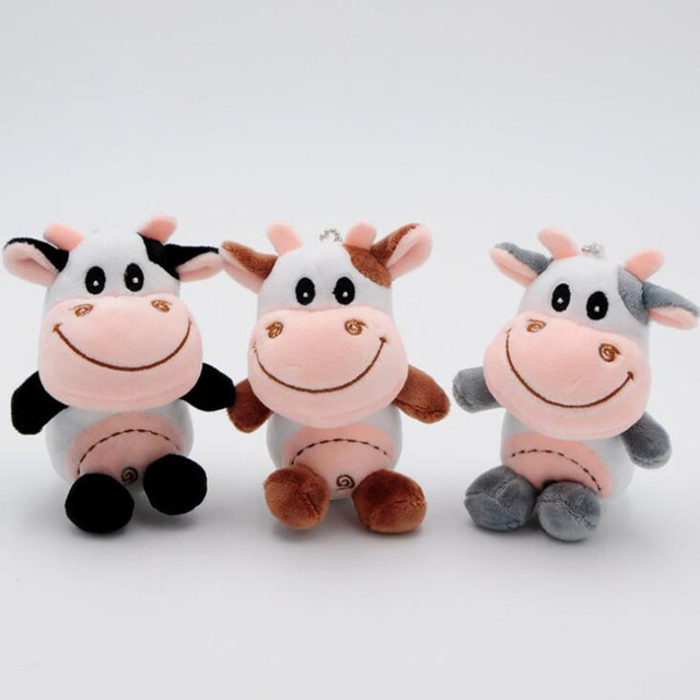 2018 Cute Cartoon Pudding Cow Plush Toy Horse 10 Cm Cow Soft Plush Children Toy Doll Christmas Gift With Hanging Chain Randomly