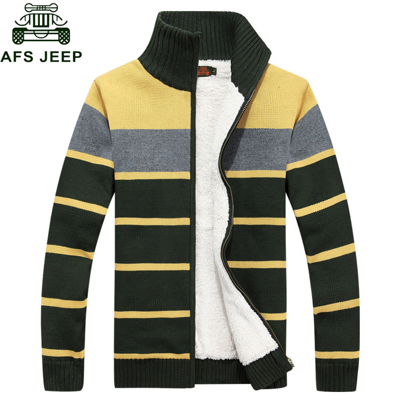 AFS JEEP 2017 Striped Christmas Sweater Cardigan Men Cotton Stand Collar Long Sleeves Regular Cheap-clothes-china Mens Overcoat