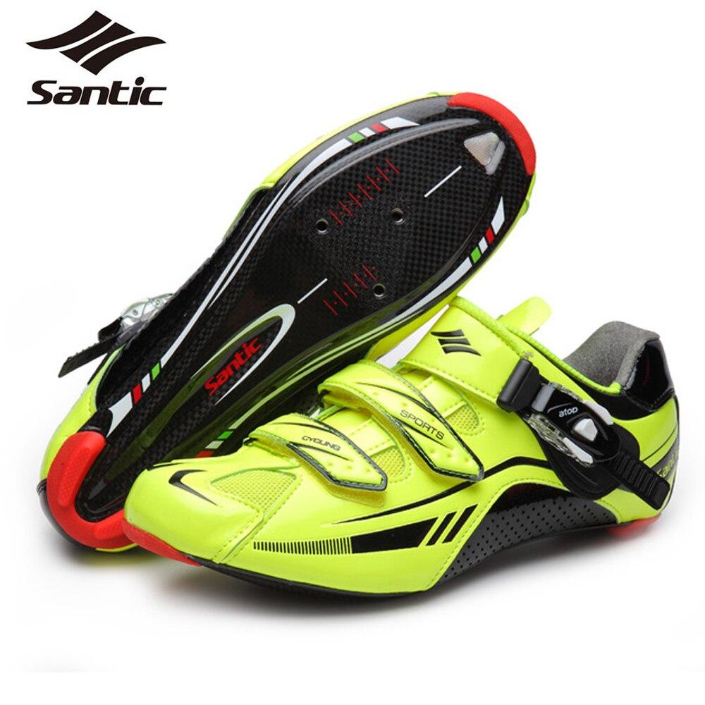 Santic Professional Men's Carbon Fiber Road Bike Shoes Athletic Bike Lock Shoes Breathable Cycling Shoes Scarpe Ciclismo
