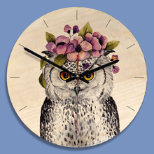 11 Inch Wooden Wall Clock Cartoon Owl Painting Wall Watch Modern Wall Decoration Kids Room Silent Quartz Relogio De Parede