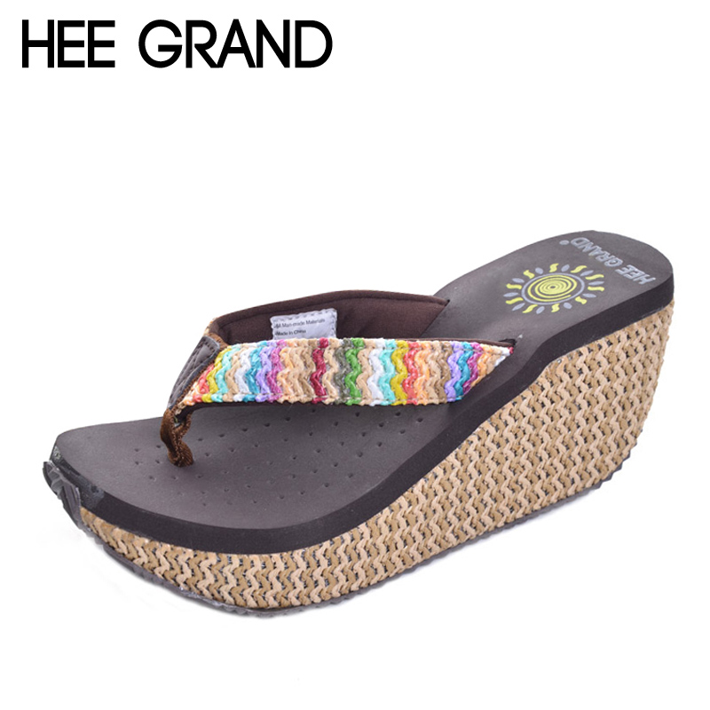 4fa2bd90f5c59 HEE GRAND Platform Flip Flops 2017 Summer Wedges High Heels Slip On Beach  Slippers Creepers Casual Shoes Woman XWT632