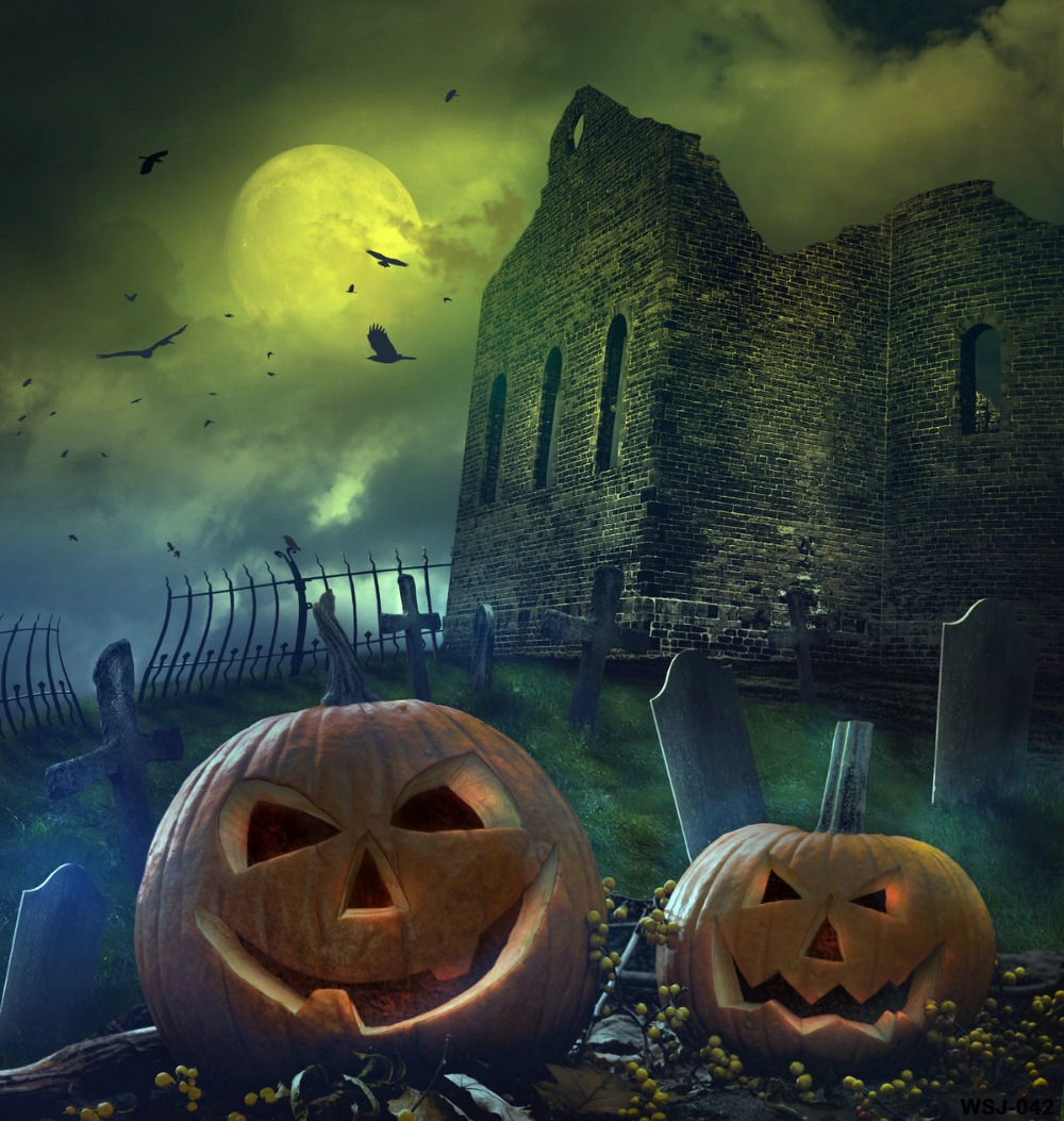 aliexpresscom buy kate halloween night photography backgrounds green screen ancient castle grave pumpkin backdrops photo studio from reliable backdrop