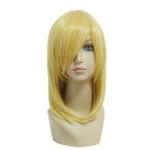 Mcoser 45 см прямые Синтетический Средний светло-золотистый Цвет Косплэй костюм парик 100% Высокая Температура Волокна волос WIG-197A