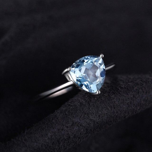 JewelryPalace Trilioni di 1.5ct Sky Naturale Topazio Azzurro Birthstone Solitaire Anello di Puro 925 Sterling Argento di Nuovo Modo di Gioielleria di marca