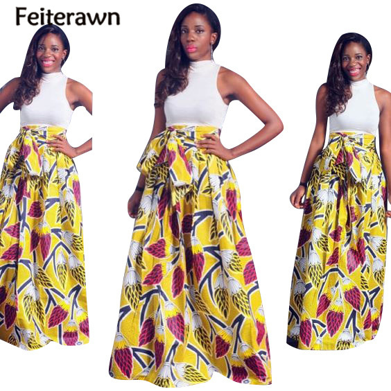 Feiterawn 2017 Women Summer Sexy Crop Top 2 Pieces Suits Long Maxi Beach Sleeveless African Print Party Skirt Sets OS7072