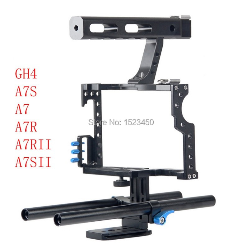 15mm Rod Rig DSLR Camera Video Cage Kit Stabilizer + Top Handle Grip for Sony A7 II A7r A7s A6300 A6000 Panasonic GH4 GH3 15mm rod rig dslr camera video cage kit stabilizer top handle grip for sony a7 ii a7r a7s a6300 a6000 panasonic gh4 gh3