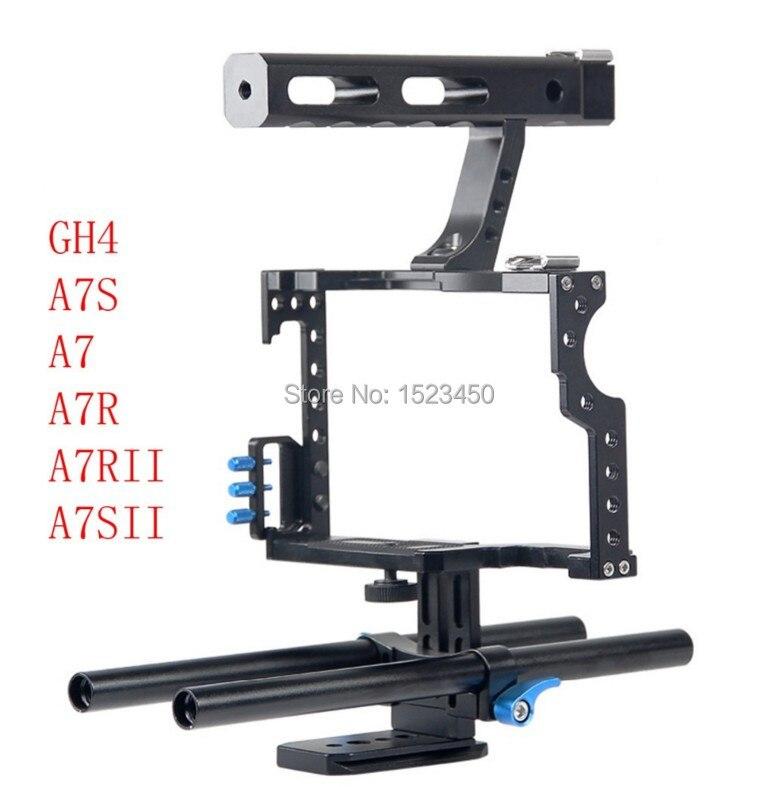 15mm Rod Rig DSLR Video Camera Cage Kit Stabilizzatore + Top Handle Grip per Sony A7 II A7r A7s a6300 A6000 Panasonic GH4 GH3