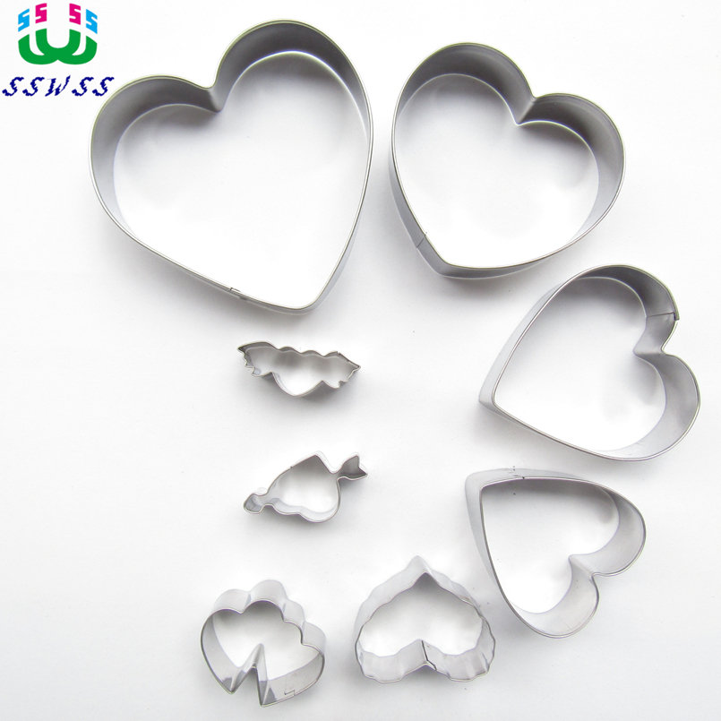 Осем сърца форма торта бисквитка печене форми, Валентин торта декорация фондант фрези инструменти, директни продажби  t
