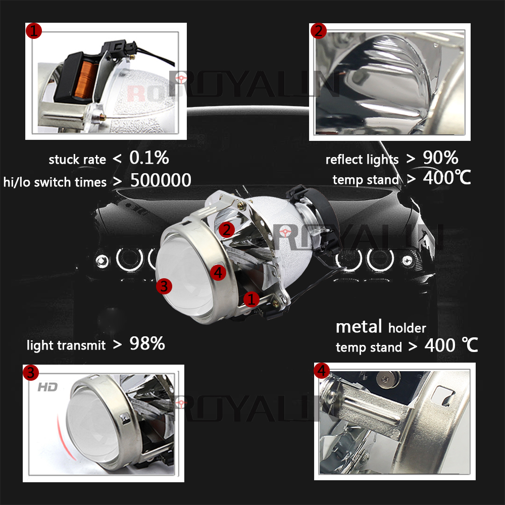 Hella EVOX 2.0 D2S proyektor üçün ROYALIN BMW E39 E60 Ford Audi A6 - Avtomobil işıqları - Fotoqrafiya 2