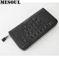 Male Wallets Fashion Black Mens Long Wallet Crocodile Grain Design Genuine Leather Zipper Coin Purse Male Card Holder Purses