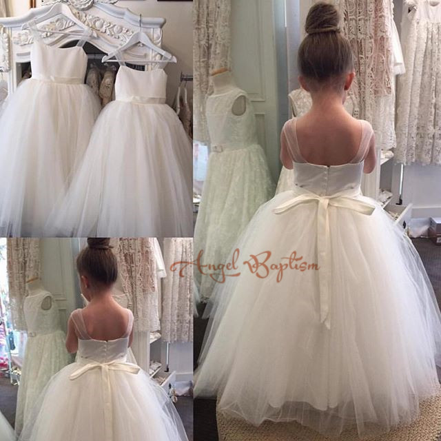 Simple white/ivory long spaghetti straps ball gowns for little girls beautiful wedding birthday party dress