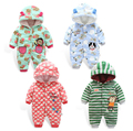 Free shipping Autumn and Winter Baby Clothes Newborn Baby Clothing Coral Fleece Animal Style Clothing Romper Baby Overalls 2-12M