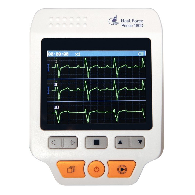 Heal Force Prince 180D Medical Portable ECG EKG Heart Rate Monitor LCD Chest Limb Electrocardiograph 3 channel 25pcs Lead wires