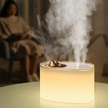1000ML beyaz 2 Mist Outlet usb hava nemlendirici ev ofis için aromaterapi koku difüzörü nemlendiriciler ile 7 renk led ışık
