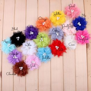 Image 2 - 120pcs/lot 6.5cm 18colors DIY Soft Chic Mesh Hair Flowers With Rhinestones+Pearls Artificial Fabric Flowers For Kids Headbands