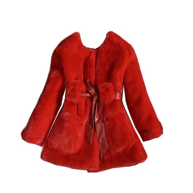 1cac5c9f64e Lujo faux pieles abrigos moda invierno chaqueta para niñas Bebé Ropa parka  ropa elegante niña abrigo