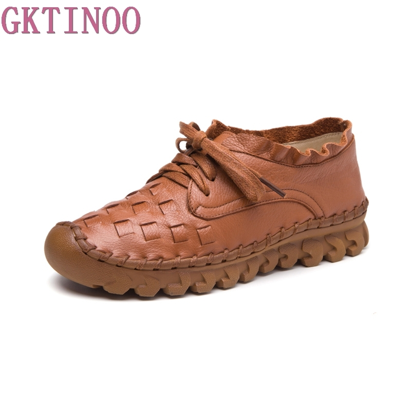 2019 New Women s Handmade Shoes Genuine Leather Flat Lacing Mother Shoes Woman Loafers Soft Single