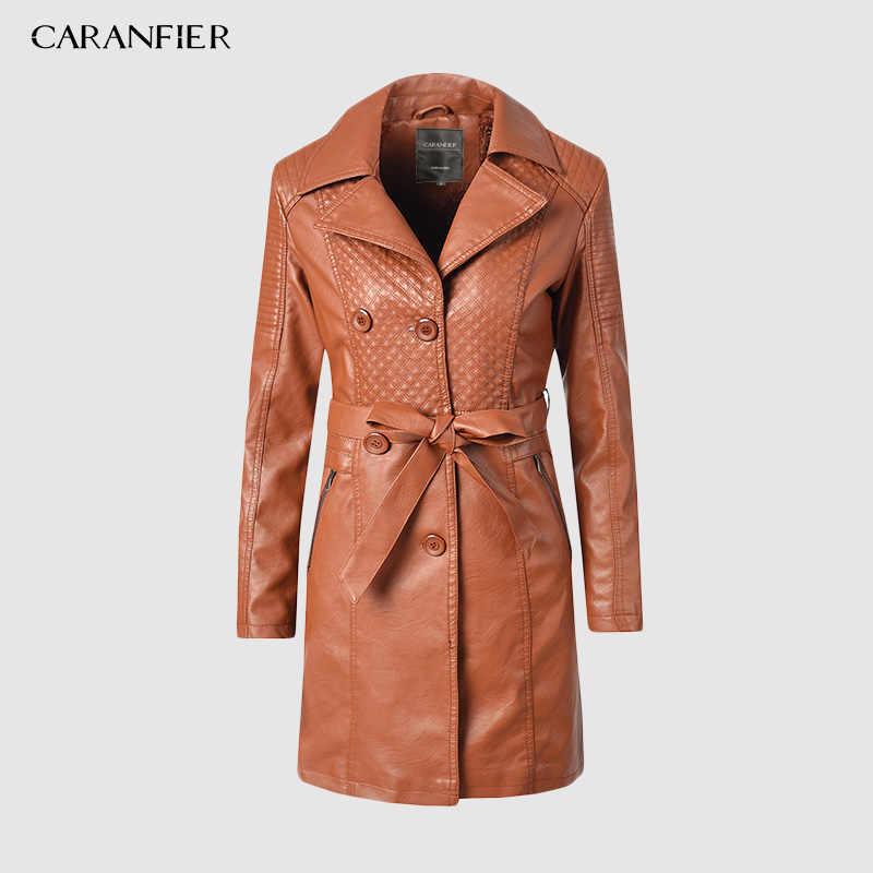 CARANFIER ผู้หญิง Pu หนัง Trench Coat เสื้อกันหนาวฤดูหนาวเสื้อคู่เสื้อคู่หนากำมะหยี่ Windbreaker