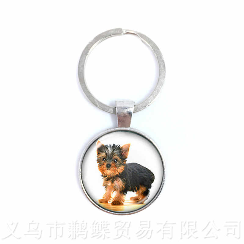 lovely Dog Keychain 25MM Round Glass Cabochon Animal Handmade Keyring Creative Gift Personalized Customize Your Beloved Pet
