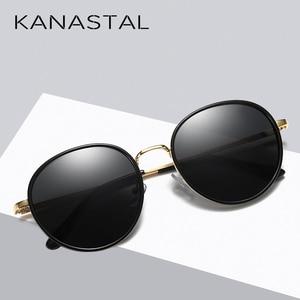 Image 3 - אופנה עגול מקוטב משקפי שמש נשים בציר אלגנטי נהיגה Eyewear מתכת מסגרת נקבה Oculos דה סול UV400
