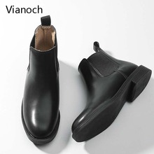 Vianoch Fashion Womens Boots Winter Warm Flats Casual Shoes Black Lady wo1808154