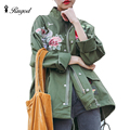 Spring Autumn Women Basic Coats Embroidery Floral Coat Army Green Black Fall Jackets Womens Chaquetas Mujer Fashion Overcoat