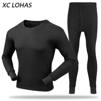 Hot Sale 1 Set Premium Cotton Blend Long Johns O Neck Solid Men Thermal Underwear Long