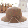 2016 новый летний дамы шляпа цвет Корея рыбак шляпа конопли лук бассейна шляпа пятна оптовая