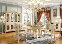 Niska cena wysoka jakość królewski projekt stół ustawia biały zestaw mebli z drewna krzesła w Chinach