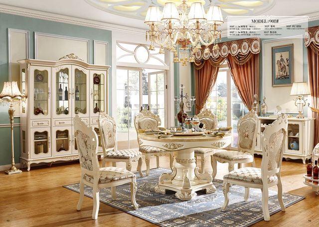 Cheap Price High Quality Royal Wood Design Dining Table Sets White Furniture Set With Chairs In China