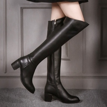 2016 Winter New Black Cowhide Round Toe Thick Heels Over the Knee Boots For Women High Quality Discount Sale Fashion Jackboot