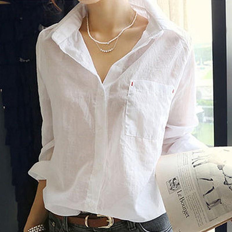 Women Summer Linen White Solid Blouse Shirt Korean Style Casual Tops Female Fashion Camisa V-Neck Blouses