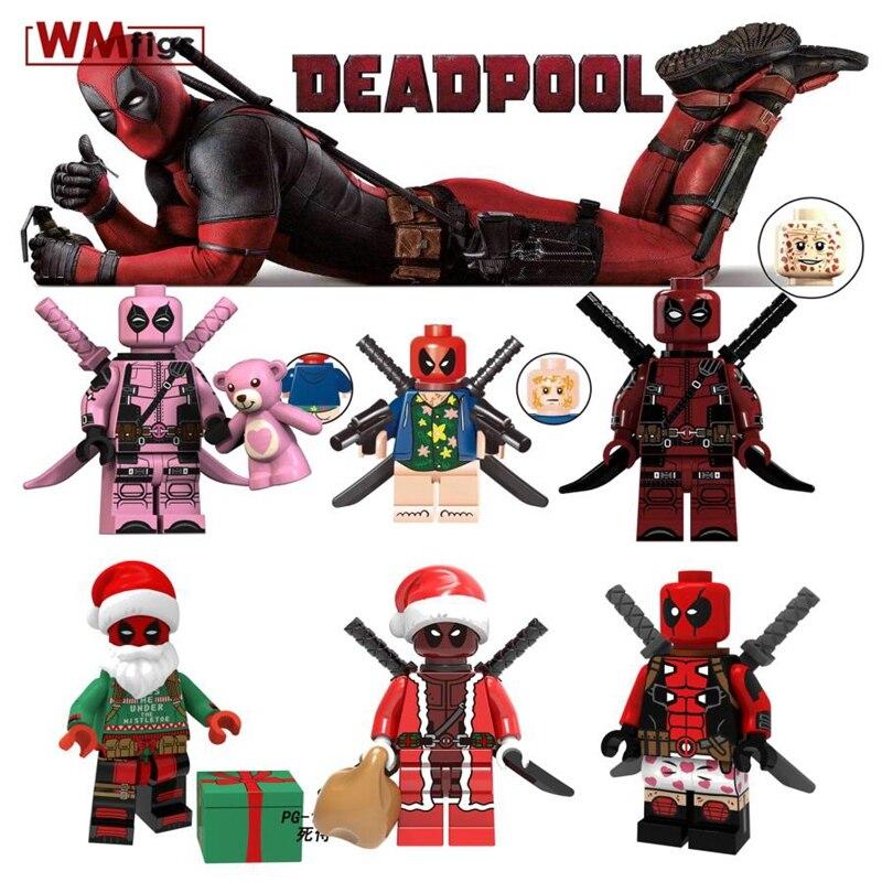 Legoing Marvel Super Heroes Deadpool 2 Domino Electric Cable Peter Warhead Spiderman Bricks Building Blocks Toys For Children Blocks